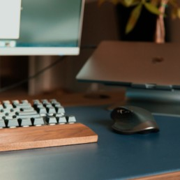 Desktop with keyboard mouse and laptop